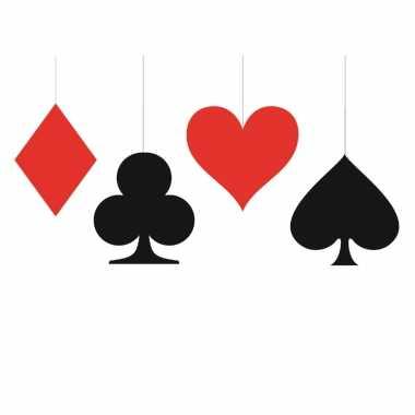 8x stuks kaartspel/casino speelkaarten decoratie hangers